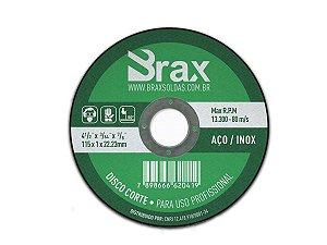 Disco De Corte Fino Inox 4.1/2 X 1,0 Aço / Inox  Brax