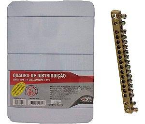 Quadro De Distribuição 16 Disjuntores Din + Barramento