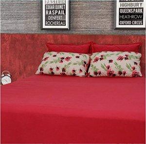 Conjunto lençol floral bordô