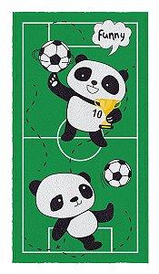 Toalha felpuda estampada panda futebol