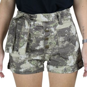 Shorts Feminino Sarja Rock Forest Treme Terra
