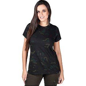 Camiseta Feminina Bélica Soldier Camuflada Multicam Black
