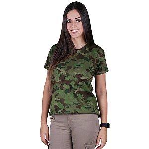 Camiseta Feminina Bélica Soldier Camuflada Tropic