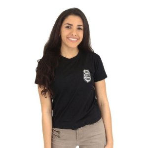 Camiseta Feminina Militar Baby Look Estampada Estado Civil Solteira | Preta - Atack