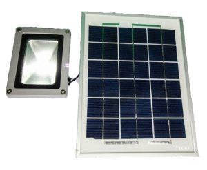 Kit Energia Solar Holofote Refletor Led Acende Automático
