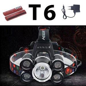 Lanterna Cabeça T6 5x Led Cree Profissional Swat Tática