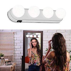 Luz De Espelho Maquiagem Camarim Led 4 Lampadas Sem Fio