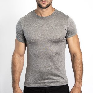 Camiseta Slim Fit Básica Modal Cinza Mescla - SOHO