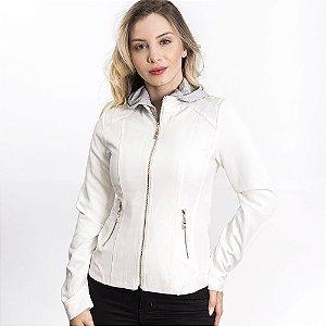 Jaqueta Slim Fit com Capuz Removível - Off White