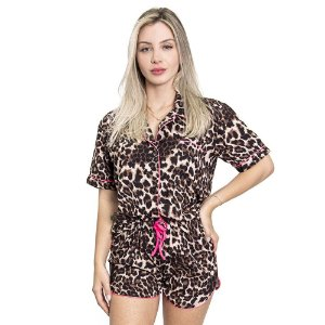 Pijama Feminino Curto Animal Print - Pink