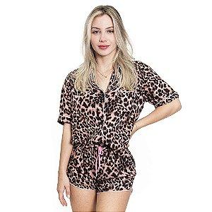 Pijama Feminino Curto Animal Print - Rosa