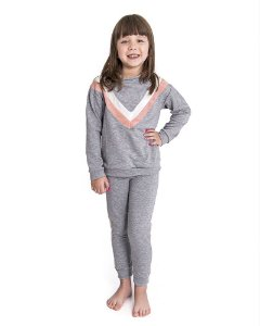 Pijama Infantil Longo Stripes - Mescla Claro