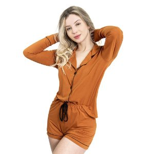 Pijama Camisaria Triplo in Toffee