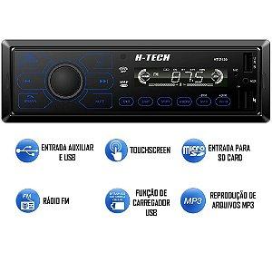 Rádio Som Automotivo Mp3 H-tech Bluetooth 2usb Com Controle