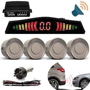 Sensor De Ré Estacionamento 4 Pontos Universal Prata