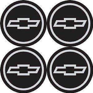 Kit 4 Emblemas Chevrolet Preto 51Mm Para Calotas