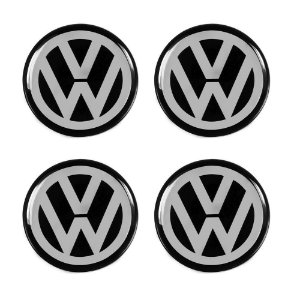 Jogo De Emblemas Adesivos Volkswagen Para Roda e Calota 48mm