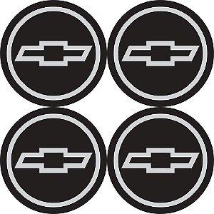 Jogo De Emblemas Adesivos Chevrolet Prata Rodas Calotas 48mm