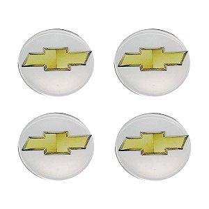 Jogo De Emblemas Adesivos Chevrolet Prata Rodas e Calotas