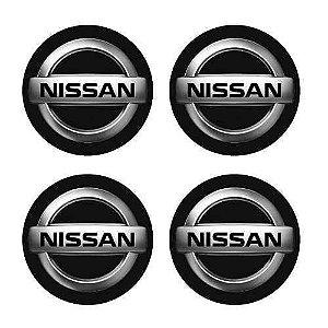 Jogo De Emblemas Adesivos Nissan Para Rodas e Calotas 48mm