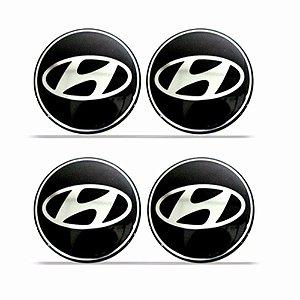 Jogo De Emblemas Adesivos Hyundai Para Rodas e Calotas 48mm
