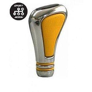 Manopla De Câmbio Sport Cromado Amarela Re Esquerda P Baixo