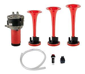 Buzina 3 Cornetas Vermelha 12V