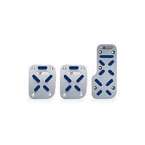 Jogo Pedaleira De Aluminio Para Carro Azul
