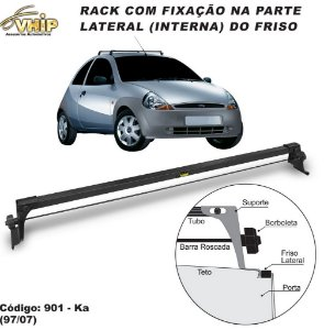 Rack Do Teto Ford Ka 97 A 02 Fixo No Friso Do Teto