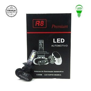 Par De Lâmpada Led R8 Premium Headligh H1 6500K