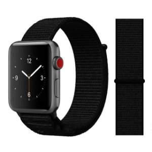 Pulseira Nylon Preto Apple Watch Iwo 8 9 10 11 12 13