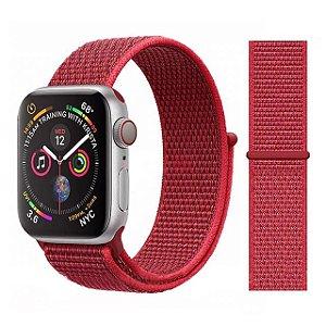 Pulseira Nylon Vermelho Apple Watch Iwo 8 9 10 11 12 13