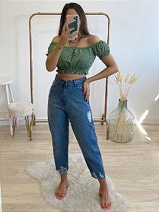 blusa cropped amélia verde