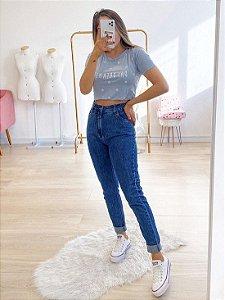 calça mom jeans dark