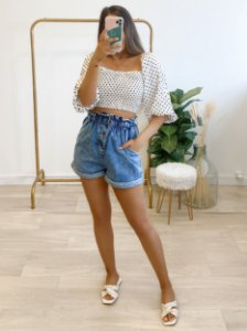 blusa cropped poá lovely white