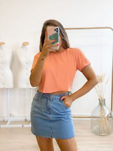 t-shirt cropped basic pêssego