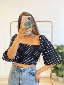 blusa cropped poá lovely
