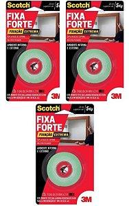 3 Fita Dupla Face 3m 24mm X 2mt Fixa Forte 5kg Extrema