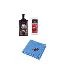 Shampoo Automotivo 500ml 3M + Flanela + Esponja Dupla Ação