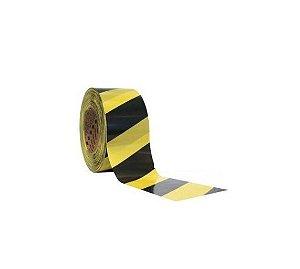 Fita Demarcação Área  Amarela e Preta  65mm x 180 mts