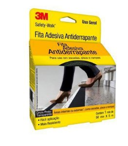 Fita Antiderrapante 3M Preta 50mm x 5mt Uso geral H0001912452 Safety-Walk