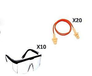 Kit de Segurança Epi 10 Oculos + 20 Protetores Auriculares