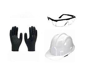 Kit de Epi Capacete + Oculos de Proteção + Luva Multitato M
