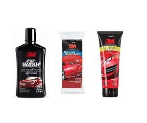 Kit Shampoo Car Wash + Esponja Dupla Ação + Elimina Risco 3m