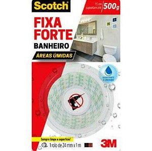Fita Dupla Face 3M Scotch® Fixa Forte Banheiro 24 mm x 1 m HB004622690