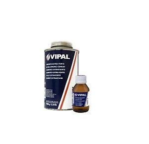 Cola Cimento Borracheiro 1kg + Catalisador 50ml 30min Vipal