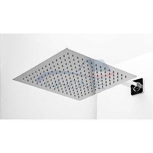 Ducha Chuveiro Inox Quadrado Gás / Solar 30x30cm + Cano 38cm