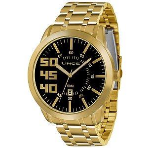 MRG4332S - Relógio Masculino Dourado Lince Fundo Preto MRG4332S