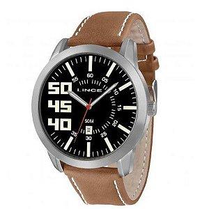 Relógio Masculino Lince Preto com Pulseira de Couro Marrom - MRC4332S-P2MB