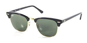 Óculos de Sol Ray Ban Clubmaster RB3016 Preto Ouro Lente Tam 51 - Ray-ban